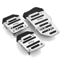 3 PCS Sport Racing Manual Car Silver Auto Vehicle Non-slip Pedal Aluminium Alloy Footrest Foot Treadle Cover Pad Set Universal