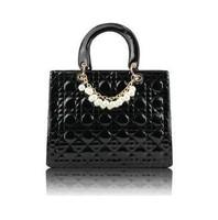 new 2014 brand women leather handbags  women handbag  Square Shape Grid Bags Pearl Chain designer handbag Solid Color Bride Bag