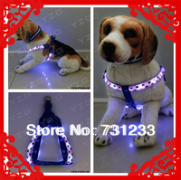 LED luminous Safety Pet Dog Harness Pet Dog Products With Beautiful Heart Shape Pattern Adjustable Size S M  L
