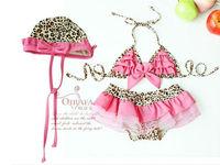 New baby & toddler girls Swimwear Leopard bikini kids Swimsuit &skirt & hat 1292