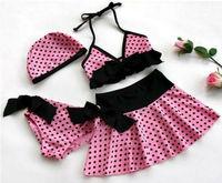 New baby &toddler girls Swimwear bikini kids Swimsuit &panties &skirt & hat  A01
