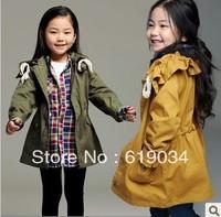 Free shipping 2013 Female child personalized pocket waist trench overcoat child drawstring outerwear medium-long wholesale