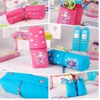 Free shipping foldable to two pencil holders multifunction thicken canvas Stationery Changeable   pencil case bag box gift