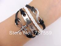 (Min Order $7) Charms Bangle Infinity Antique Sivler Karma Dream & Dragonfly Black Rope Men Girl Leather Bracelet Women Jewelry