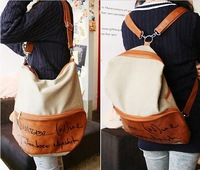 Free Shipping 2013 New Canvas Backpack Letters Shoulder Diagonal Package Leisure Fashion School bags  Handbag For Women