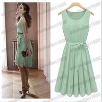 NEW 2014 women summer chiffon pleated sleeveless knee-length o-neck tank solid dress