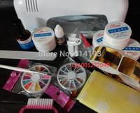 Promotion Hot ! Free Shipping Professional Full Set UV Gel Kit Starter UV Nail Art Set + 9W Curing UV Lamp Nail Dryer drop