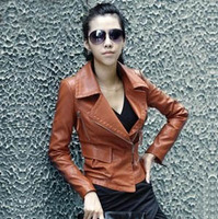 Fashion 4 Colors Casual Black PU Leather Jackets Coat For Women 2013 Autumn Turn-down Collar Womens Leather Jacket