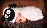 Free Shipping Cute Baby Sheep Costume Hats Photo Photography Props Infant Knit Crochet Beanie Animal Hat handmade style set
