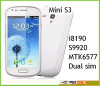 "Newest arrive dual core dual sim MTK6577 MINI S3 I8190 S9920 ANDROID 4.1OS 4.0"" Screen hot sale one year gauarantty"