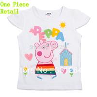 Free Shipping New 2015 Nova Kid Summer Print Peppa Pig Short Sleeve Girl Clothes Children Girl Cartoon T-shirt 2-6Year