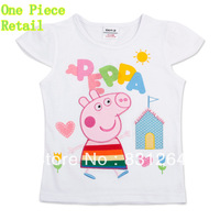 Free Shipping New 2014 Nova Kid Summer Print Peppa Pig Short Sleeve Girl Clothes Children Girl Cartoon T-shirt 2-6Year