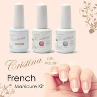 Cristina UV Gel Nail Polish French Manicure Kit 3 Pcs Free Shipping