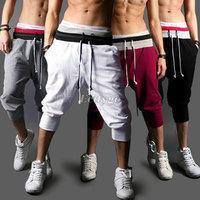 2014 Hot Sale!! Fashion Casual Loose Mens Sports Capri Cropped Short Pants Sweatpants Jogger Trousers 4 Colors S-XXL