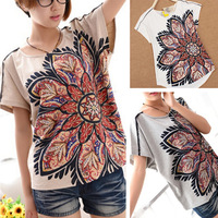 Flame Printed T-Shirt Women's Ethnic Style Loose Short-sleeve Tshirts Plus Size Wholesale Cotton Tops Tee White Khaki Grey Color