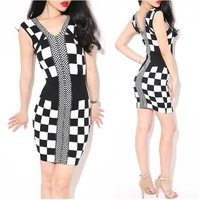 HL style Sexy Double V-neck Black white plaid package hip Slim was thin knitted bandage dress Evening Party dress Free Shipping