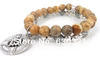 Free Shipping Fashion Sem Stone Bead Women bracelet for Cross Charm Bracelet