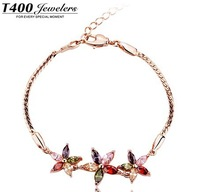 Christmas jewellery T400 brand jewelry,made with AAA zircon charm bracelet,for women,beautiful sunflower#3079,free shipping