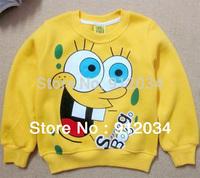 1piece retail lovely yellow spongebob baby boys girls cartoon clothing long sleeve cotton sweater children's sweatshirts 95~140