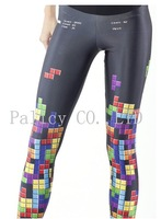 2014  Women Leggins Colorful Legging Tetris Digital Print Elasticity Pants Elastic Leggins Jeggings Wholesale Free Shipping
