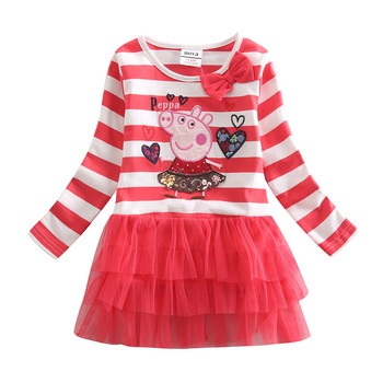 FREE SHIPPING H4211# 5pieces /lot printed lovely peppa pig with embroidery tunic top  hot summer baby girl cotton dress