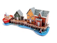 3D DIY handmade puzzle for child early learing---Fishermans Wharf---free shipping