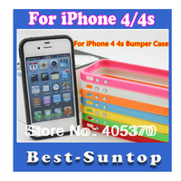 Drop Shipping 1 pcs For iPhone 4 4s Silicone Bumper Frame Case Cover  W/Volume Button Freeshipping