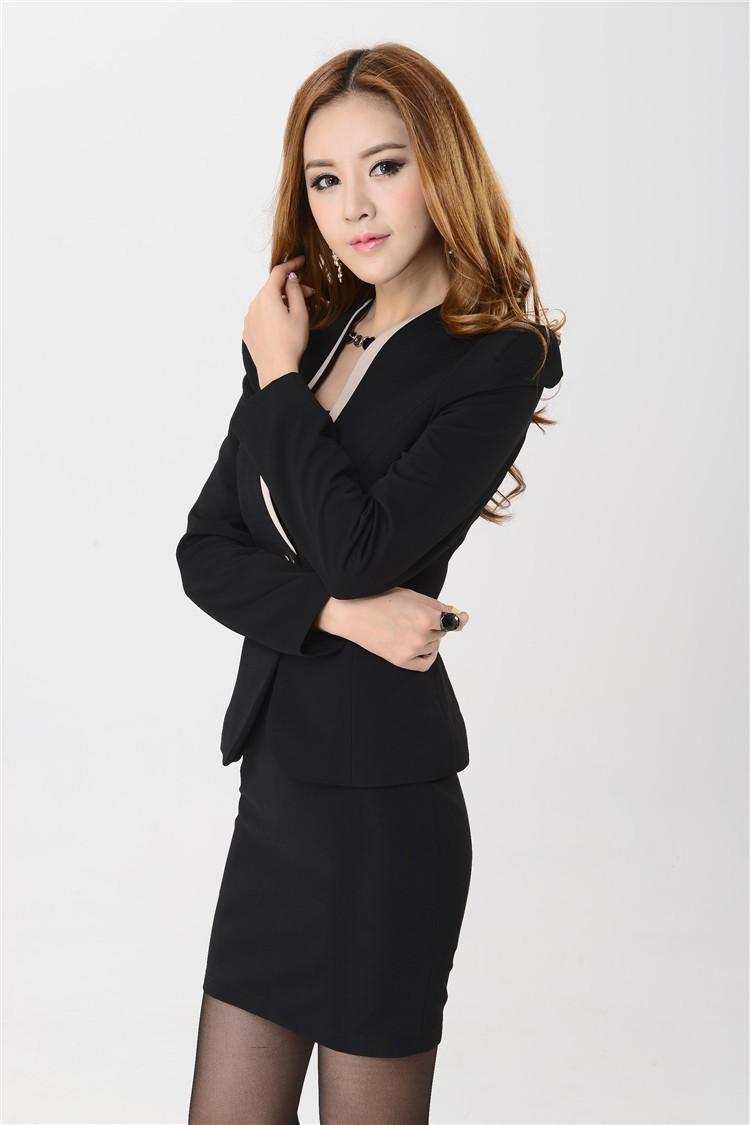 New 2015 Fall Autumn Formal Blazer Women Skirt Suits Work Wear Jacket Coat