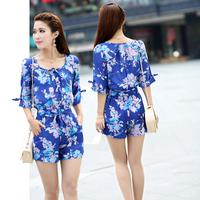 2014 New Arrival Women's Vintage Jumpsuit , Floral Pattern Chiffon Summer Jumpsuit Blue Color 285