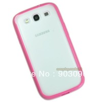 100% New Hot Pink  Bumper Frame Impact Hybrid PC+TPU Gel Case Cover for Galaxy S III S3
