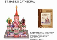 High quality  Puzzle! Moscow Famous Architecture 3D Puzzle of The St Basil's Cathedral with 46pcs assembly for children gift