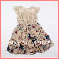 girls dress wholesale 5pcs/lot new 2013 summer lace chiffon girl dress princess heigh flower girl dress cotton elegant kid dress