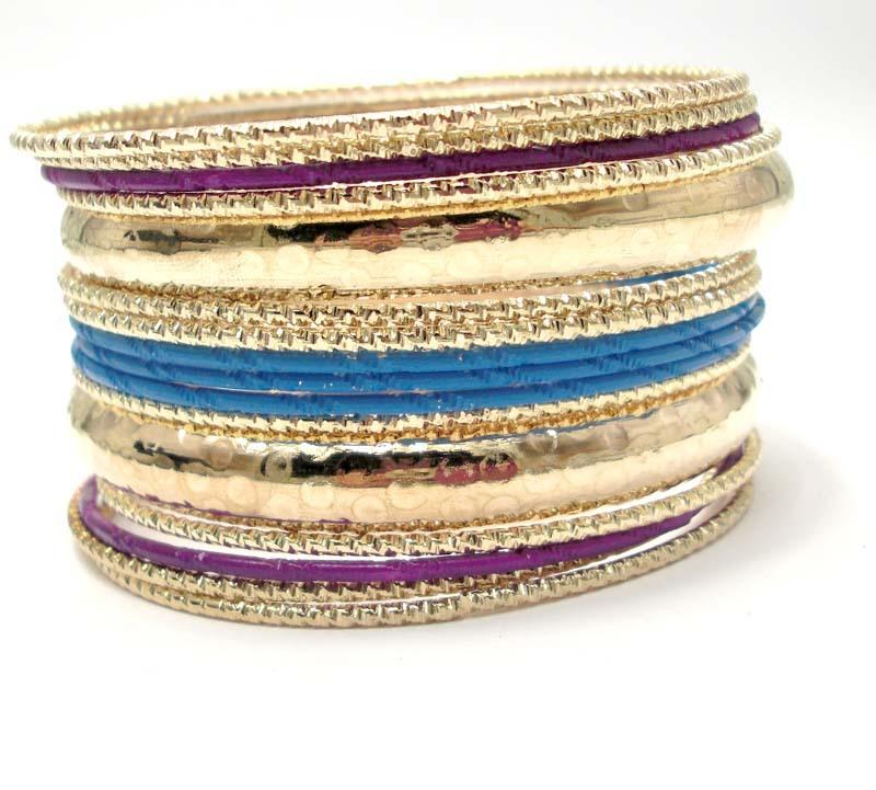 Wholesale Fashion Bracelets 2013. Neon Dark Purple and Blue Mixed Boho Bangle Set. Indian Fashion Bohemian Bracelets(China (Mainland))