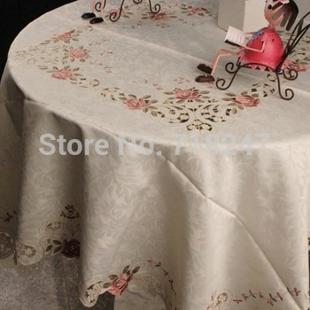 "Free Shipping 220cm Round (90"") Hot Sale Fancy 100% Polyester Jacquard Embroidery Rose Floral Tablecloth Table Overlays Covers"