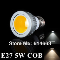 5pcs/lot Free shipping E27 5W COB LED Spot Light Bulbs Lamp Warm White/Cool White High Brightness Energy Saving Retail&Wholesale