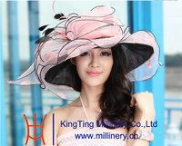 Free Shipping Hot Women Organza Hat Church Hat Ruffled Organza Wedding Hat with 2 Tone Flower Wide Brim Floppy Ruffle Wave Brim