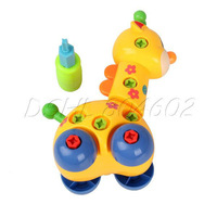 Cute Baby Child Children intellectual Disassembly Giraffe Car Toy yellow