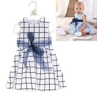 Baby Toddler Girl Kids Cotton Outfit Clothes Top Bow-knot Plaids Dress 0-3 Years  Free shipping & Drop shipping XL043