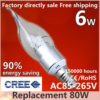Free shipping,LED Candle Lamp,CREE,AC110-230V,6W,Aluminum,silver,5630SMD,Candle Lamp Bulb,Cool Warm white,High quality,10pcs/lot