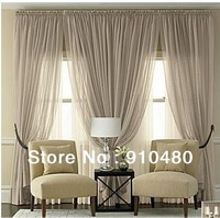 luxury voile curtain rod pocket sheer curtain panel one lot including Width 200 * Length 260cm free shipping