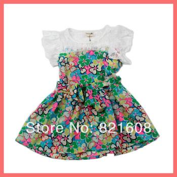 free shipping 2013 girl dress new fashion chiffon lace princess kids dress summer children flower print clothing