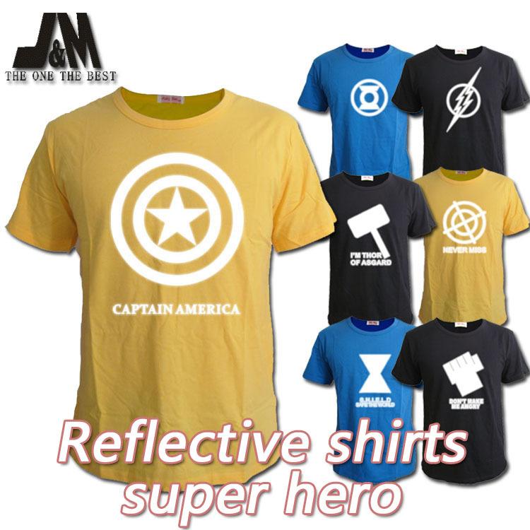 Reflective shirt Green Lantern/Captain America/The Flash/SHIELD/Hawkeye/The Hulk/Thor expre cool Casual t-shirt lover clothes(China (Mainland))