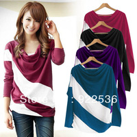 Loose Sleeve T Shirt StitChing Striped Long-Sleeved Knitwear Pullover For Ladies 11081