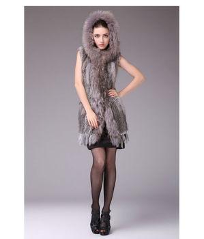 Мех кролика долго жилет жилеты жилет жилет без рукавов пальто и мех енота