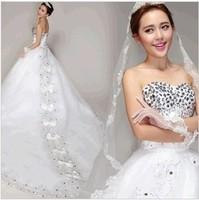 Royal Luxurious full Rhinestone wedding dress new 2014 sexy Crystal wedding dress plus size 5811