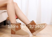 Hot Sale  Boots For  Women's Winter  Snow   Short   Boots  Suede  Cotton   Keep   Warm   Splice   Inspissate Low  Price