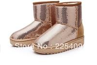 Hot  Sale   Women's  Winter  New  Design  Snow  BootS  Sequin  Warming  Waterproof   Boots  Fur Inner Gold + Brown+Pink  Color