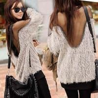 2014 New Spring Sexy Women Raglan  Long Sleeve Transparent Mesh Fur Knitted Sweater  1122