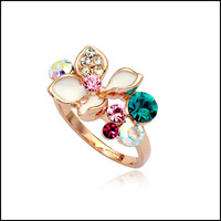 Italina Rigant  Hot Sell Real 18K Rose Gold Plated Colorful Austrian Crystal With White Enamel Flower Wedding Rings For Women