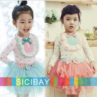 Promotion 2014 Retail Free Shipping Girls Floral Sets Layered Skirt + Long Sleeve Tshirts,Kids Fashion Clothing  K1727